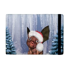 Christmas, Cute Little Piglet With Christmas Hat Apple Ipad Mini Flip Case by FantasyWorld7