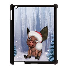 Christmas, Cute Little Piglet With Christmas Hat Apple Ipad 3/4 Case (black) by FantasyWorld7