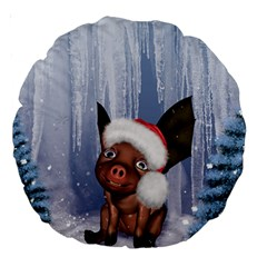 Christmas, Cute Little Piglet With Christmas Hat Large 18  Premium Round Cushions by FantasyWorld7