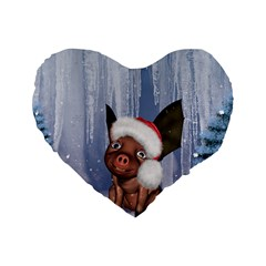 Christmas, Cute Little Piglet With Christmas Hat Standard 16  Premium Flano Heart Shape Cushions by FantasyWorld7