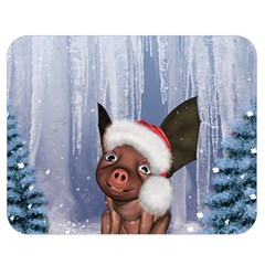 Christmas, Cute Little Piglet With Christmas Hat Double Sided Flano Blanket (medium)  by FantasyWorld7