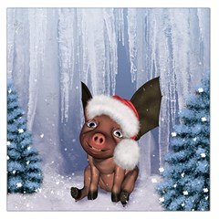 Christmas, Cute Little Piglet With Christmas Hat Large Satin Scarf (square) by FantasyWorld7