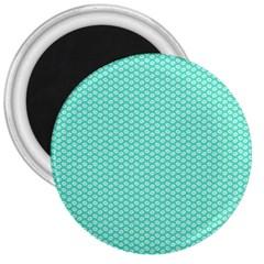 Tiffany Aqua Blue With White Lipstick Kisses 3  Magnets by PodArtist