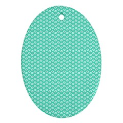 Tiffany Aqua Blue With White Lipstick Kisses Oval Ornament (two Sides) by PodArtist