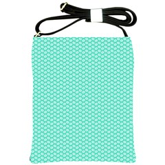 Tiffany Aqua Blue With White Lipstick Kisses Shoulder Sling Bags by PodArtist