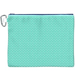 Tiffany Aqua Blue With White Lipstick Kisses Canvas Cosmetic Bag (xxxl) by PodArtist