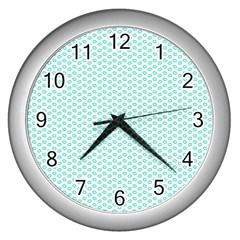Tiffany Aqua Blue Lipstick Kisses On White Wall Clocks (silver)  by PodArtist