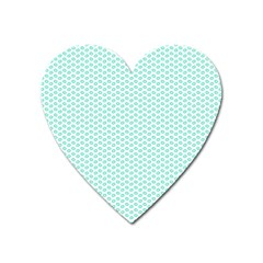 Tiffany Aqua Blue Lipstick Kisses On White Heart Magnet by PodArtist