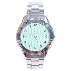 Tiffany Aqua Blue Lipstick Kisses On White Stainless Steel Analogue Watch by PodArtist