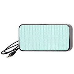 Tiffany Aqua Blue Lipstick Kisses On White Portable Speaker by PodArtist