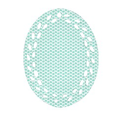 Tiffany Aqua Blue Lipstick Kisses On White Oval Filigree Ornament (two Sides) by PodArtist