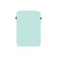 Tiffany Aqua Blue Lipstick Kisses On White Apple Ipad Mini Protective Soft Cases by PodArtist