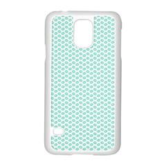 Tiffany Aqua Blue Lipstick Kisses On White Samsung Galaxy S5 Case (white) by PodArtist