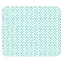Tiffany Aqua Blue Lipstick Kisses On White Double Sided Flano Blanket (small)  by PodArtist