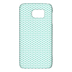 Tiffany Aqua Blue Lipstick Kisses On White Galaxy S6 by PodArtist