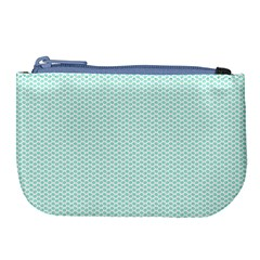 Tiffany Aqua Blue Lipstick Kisses On White Large Coin Purse by PodArtist