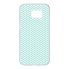 Tiffany Aqua Blue Lipstick Kisses On White Samsung Galaxy S7 Edge White Seamless Case by PodArtist