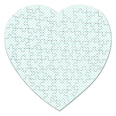 Tiffany Aqua Blue Candy Polkadot Hearts On White Jigsaw Puzzle (heart) by PodArtist