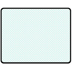 Tiffany Aqua Blue Candy Polkadot Hearts On White Fleece Blanket (medium)  by PodArtist