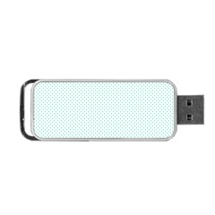 Tiffany Aqua Blue Candy Polkadot Hearts On White Portable Usb Flash (two Sides) by PodArtist