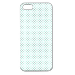 Tiffany Aqua Blue Candy Polkadot Hearts On White Apple Seamless Iphone 5 Case (clear) by PodArtist