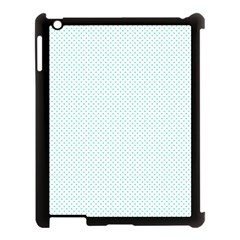 Tiffany Aqua Blue Candy Polkadot Hearts On White Apple Ipad 3/4 Case (black) by PodArtist