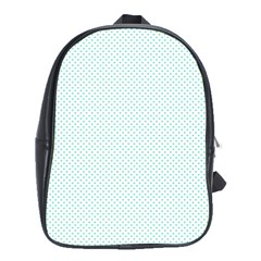 Tiffany Aqua Blue Candy Polkadot Hearts On White School Bag (xl) by PodArtist