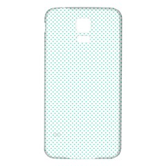 Tiffany Aqua Blue Candy Polkadot Hearts On White Samsung Galaxy S5 Back Case (white)