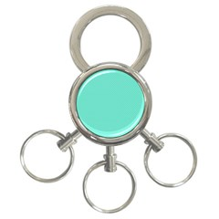 White Polkadot Hearts On Tiffany Aqua Blue  3 Ring Key Chains by PodArtist