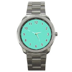 White Polkadot Hearts On Tiffany Aqua Blue  Sport Metal Watch by PodArtist