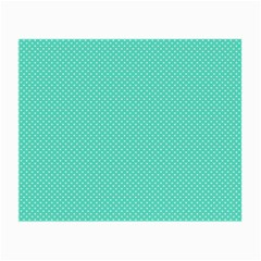 White Polkadot Hearts On Tiffany Aqua Blue  Small Glasses Cloth (2 Side) by PodArtist