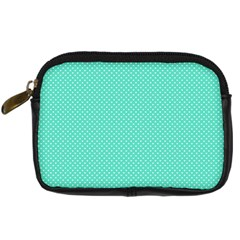White Polkadot Hearts On Tiffany Aqua Blue  Digital Camera Cases by PodArtist