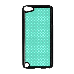 White Polkadot Hearts On Tiffany Aqua Blue  Apple Ipod Touch 5 Case (black) by PodArtist
