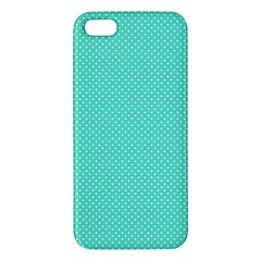 White Polkadot Hearts On Tiffany Aqua Blue  Apple Iphone 5 Premium Hardshell Case by PodArtist