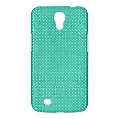 White Polkadot Hearts On Tiffany Aqua Blue  Samsung Galaxy Mega 6 3  I9200 Hardshell Case by PodArtist