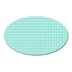 Tiffany Aqua Blue Candy Hearts On White Oval Magnet by PodArtist