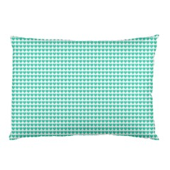 Tiffany Aqua Blue Candy Hearts On White Pillow Case by PodArtist