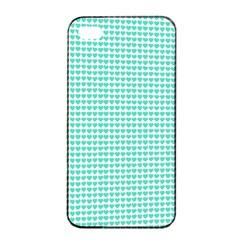 Tiffany Aqua Blue Candy Hearts On White Apple Iphone 4/4s Seamless Case (black) by PodArtist