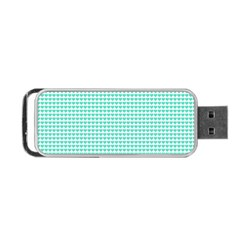 Tiffany Aqua Blue Candy Hearts On White Portable Usb Flash (one Side) by PodArtist