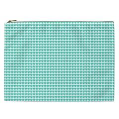 Tiffany Aqua Blue Candy Hearts On White Cosmetic Bag (xxl)  by PodArtist