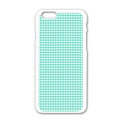 Tiffany Aqua Blue Candy Hearts On White Apple Iphone 6/6s White Enamel Case by PodArtist