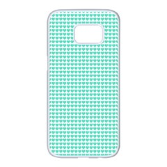 Tiffany Aqua Blue Candy Hearts On White Samsung Galaxy S7 Edge White Seamless Case by PodArtist