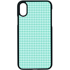 Tiffany Aqua Blue Candy Hearts On White Apple Iphone X Seamless Case (black) by PodArtist