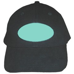 Tiffany Aqua Blue Puffy Quilted Pattern Black Cap by PodArtist