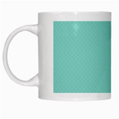 Tiffany Aqua Blue Puffy Quilted Pattern White Mugs by PodArtist