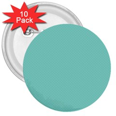 Tiffany Aqua Blue Puffy Quilted Pattern 3  Buttons (10 Pack)  by PodArtist