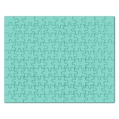 Tiffany Aqua Blue Puffy Quilted Pattern Rectangular Jigsaw Puzzl by PodArtist