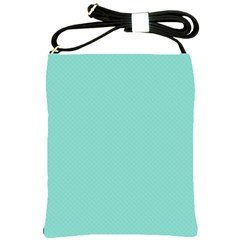 Tiffany Aqua Blue Puffy Quilted Pattern Shoulder Sling Bags by PodArtist