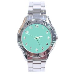 Tiffany Aqua Blue Puffy Quilted Pattern Stainless Steel Analogue Watch by PodArtist