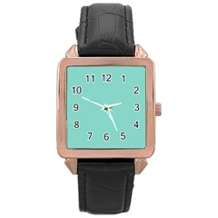 Tiffany Aqua Blue Puffy Quilted Pattern Rose Gold Leather Watch  by PodArtist